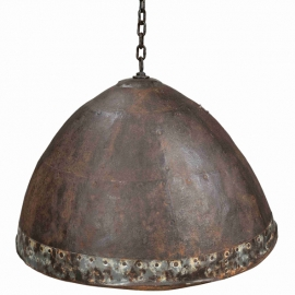 Riveted iron lampshade