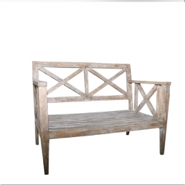 2 seats bench in cream lacquered teak