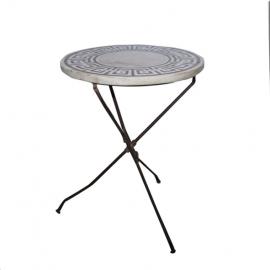 Table ronde pliante pied fer plateau marqueterie marbre