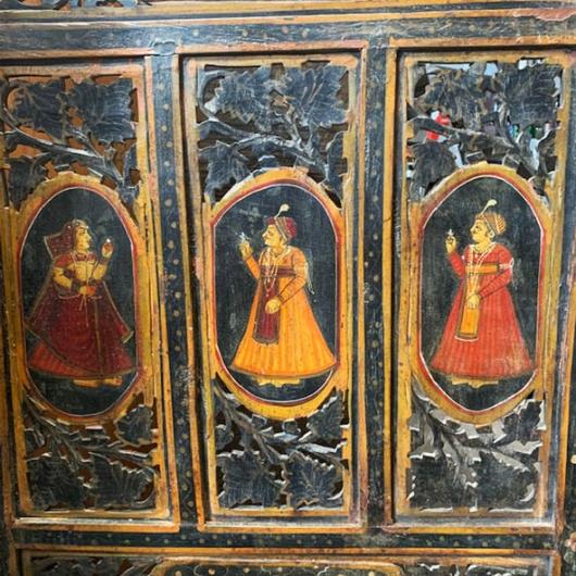 Paravent en teck avec scènes peintes indiennes