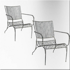 Garden armchairs in white lacquered wrought iron (Pair of)