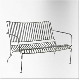 Garden white lacquered wrought iron sofa