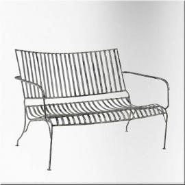 Garden white lacquered wrought iron sofa