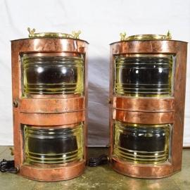 Fanaux double en cuivre et laiton (Paire de)