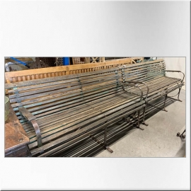 Iron and teack benches (Pair of)