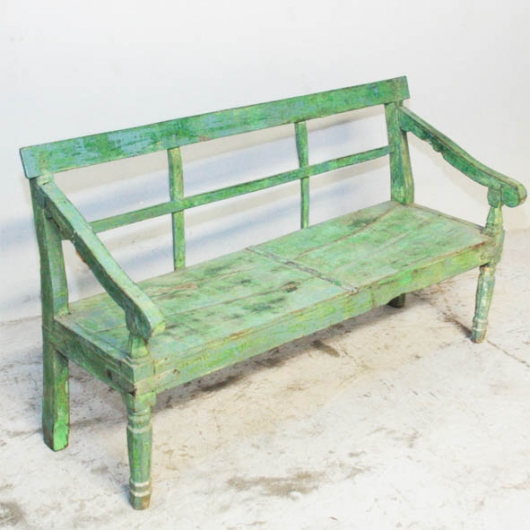 Green lacquered teak bench