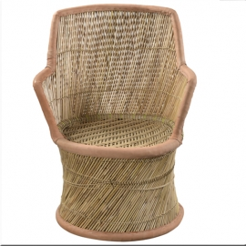 Ratan and rope armchair leather edge