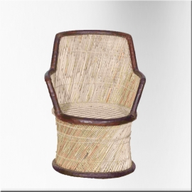 Wicker armchair with rope and leather