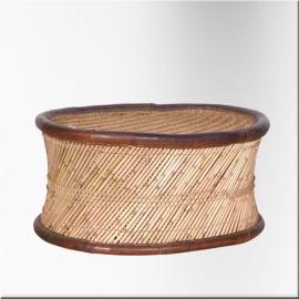 Table basse ovale en osier, corde bord cuir