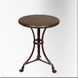 Round iron table with claw feet