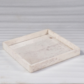Plateau rectangulaire ne marbre blanc