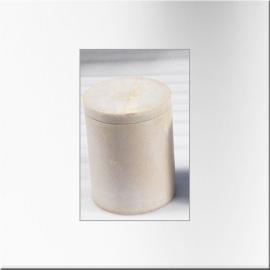 Boites cylindriques en marbre blanc à couvercle (grand modèle)