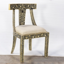 Syrian wooden and bone chair