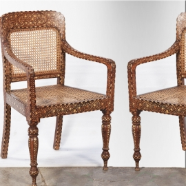 Teak and camel bone marquetry armchairs (pair of)