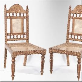 Teak bone and cane chairs (pair of)