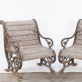 Cast iron and teak garden armchairs (pair of)