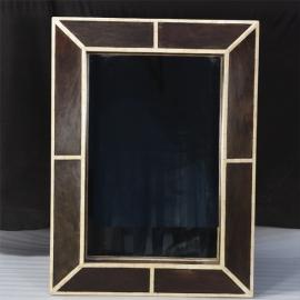 Miroir rectangulaire en bois et marqueterie d'os