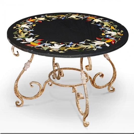 Table ronde en marbre gris et marqueterie fleurs pied en fer