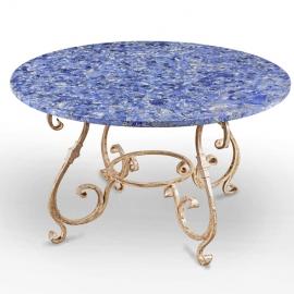 Table ronde en merbre gris et Lapis-Lazuli pied en fer