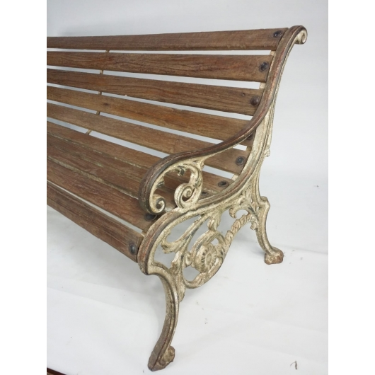 Cast iron and teak bench