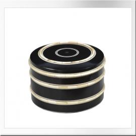 Boite ronde à couvercle en bois teinté et os de chameau