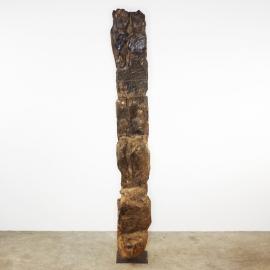 Echelle en bois sculpté '4 visages' Afrique de l'Ouest